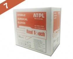 ATPL Real Touch Sterile Latex Powdered Surgical Gloves - Size: 7