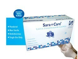 Sara+Care Non Sterile Powdered Latex Examination Gloves - Large