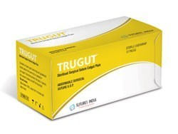 Sutures India Trugut Plain Catgut USP 2-0, 3/8 Circle Round Body