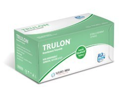 Sutures India Trulon USP 0, 1/2 Circle Reverse Cutting