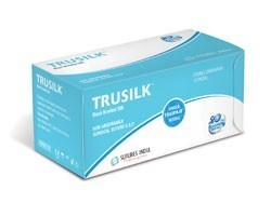 Sutures India Trusilk USP 0, 3/8 Circle Reverse Cutting