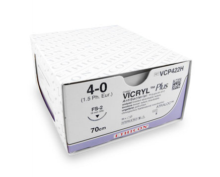 Ethicon Vicryl Plus Sutures USP 4-0, 1/2 Circle Round Body - VP2304