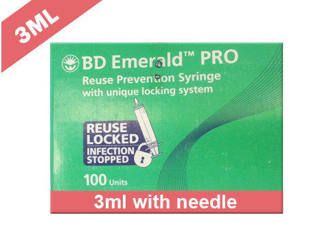 Becton Dickinson (BD) Emerald Pro Syringe With Needle 3ml