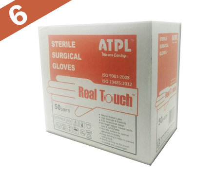 ATPL Real Touch Sterile Latex Powdered Surgical Gloves - Size: 6