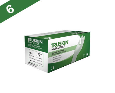 Sutures India Truskin Non Sterile Powdered Latex Surgical Gloves – Size 6