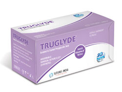 Sutures India Truglyde USP 0, 1/2 Circle Round Body