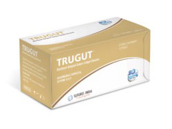 Sutures India Trugut Chromic Catgut USP 3-0, 3/8 Circle Cutting