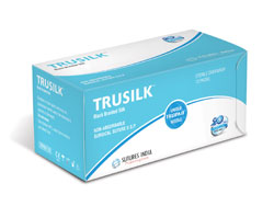 Sutures India Trusilk USP 1, 1/2 Circle Reverse Cutting
